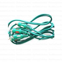 Шнур соединительный, 2RCA - 2RCA, диаметр 4х8мм/1,5метра) зелёный