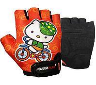 Велоперчатки детские PowerPlay, Amara, Laycra, р-р S-4ХS, оранжевый (5473Kitty)