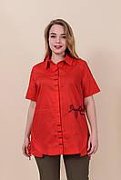 Женская рубашка на лето, хлопок, батал, красный. От производителя. Размеры 52, 54, 56, 58. Хмельницкий, фото 1