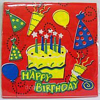 Салфетки бумажные сервировочные с рисунком 20шт- Красные с тортиком Happty Birthday