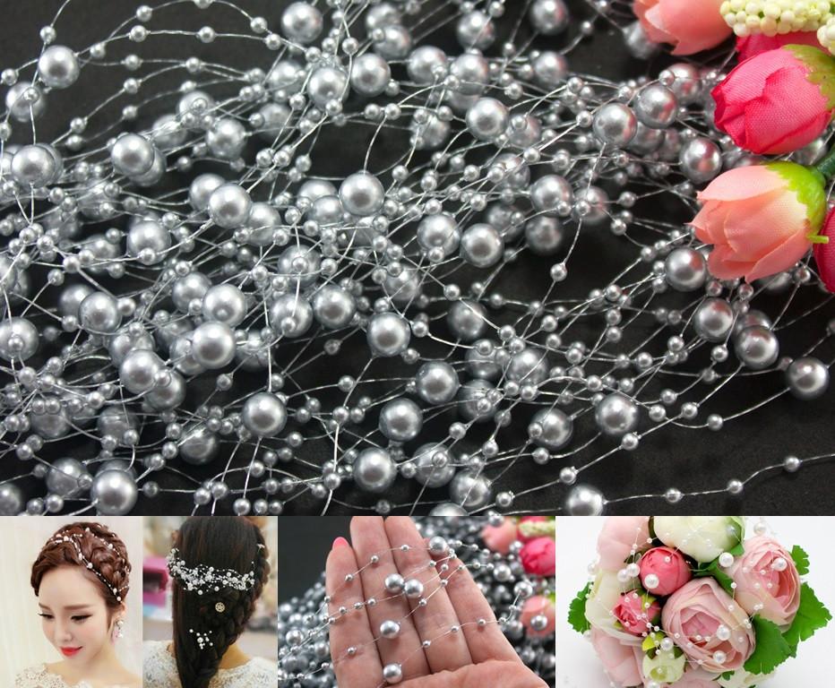 Штучні перли на нитці 5шт по 1,3 метра  Ø7 и Ø3мм, Срібло