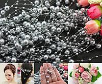 Штучні перли на нитці 5шт по 1,3 метра  Ø7 и Ø3мм, Срібло, фото 1