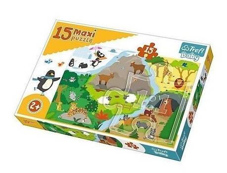 Пазл Maxi 15 Trefl Тваринки та їх будинки, фото 2
