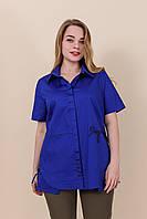 Женская рубашка на лето, хлопок, батал, электрик. От производителя. Размеры 52, 54, 56, 58. Хмельницкий, фото 1