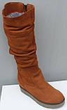 Зимові високі жіночі замшеві чоботи на товстій підошві від виробника модель ПЕ2019Р, фото 2