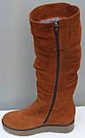 Зимові високі жіночі замшеві чоботи на товстій підошві від виробника модель ПЕ2019Р, фото 3