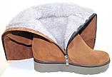 Зимові високі жіночі замшеві чоботи на товстій підошві від виробника модель ПЕ2019Р, фото 4