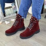 Ботинки замшевые бордовые на утолщенной подошве, на шнуровке, фото 4
