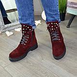 Ботинки замшевые бордовые на утолщенной подошве, на шнуровке, фото 5