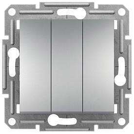 Вимикач 2-клавішний, прохідний , алюміній , Asfora