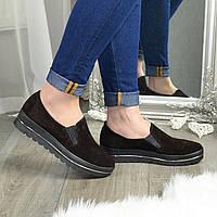 Туфли женские из натуральной замши коричневого цвета на утолщенной подошве