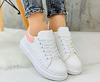 Женские белые кроссовки с розовой пяточкой, ОВ 1236, фото 1