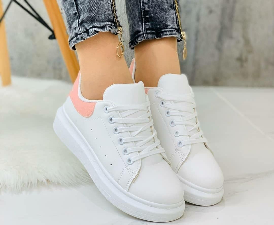 Женские белые кроссовки с розовой пяточкой, ОВ 1236