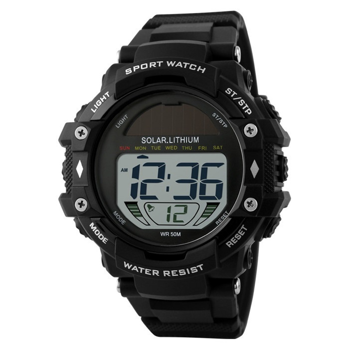 Skmei 1129 solar черные мужские спортивные часы