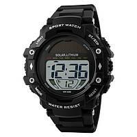 Skmei 1129 solar черные мужские спортивные часы, фото 1