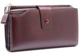 Большой кошелек портмоне много отделов / натуральная кожа #10221 Коричневый