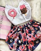 Шёлковая пижама для девушки мороженное комплект синие шортики + белый топ