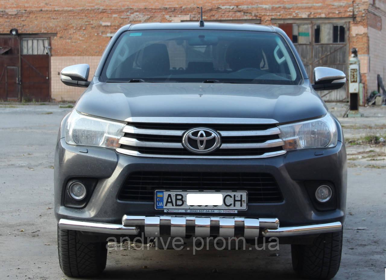 Защита переднего бампера (передний ус SHARK) Toyota Hilux 2015+
