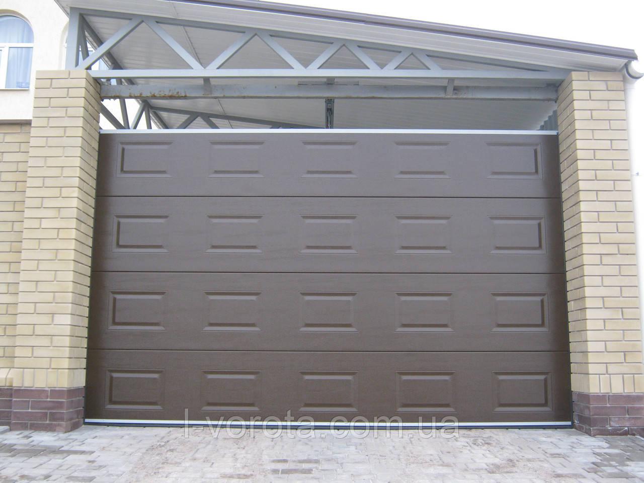Секционные ворота под навес DoorHan 3000×2000 (дизайн филенка, цвет коричневый)