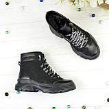 Ботинки женские в спортивном стиле, на шнуровке, натуральная кожа и нубук черного цвета, фото 2