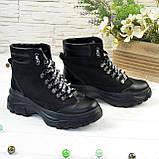 Ботинки женские в спортивном стиле, на шнуровке, натуральная кожа и нубук черного цвета, фото 3