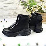 Ботинки женские в спортивном стиле, на шнуровке, натуральная кожа и нубук черного цвета, фото 4