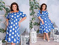 Лёгенькое  платье в горошек, с завышенной талией, с кулиской,можно регулировать объём талии  (48-62), фото 1