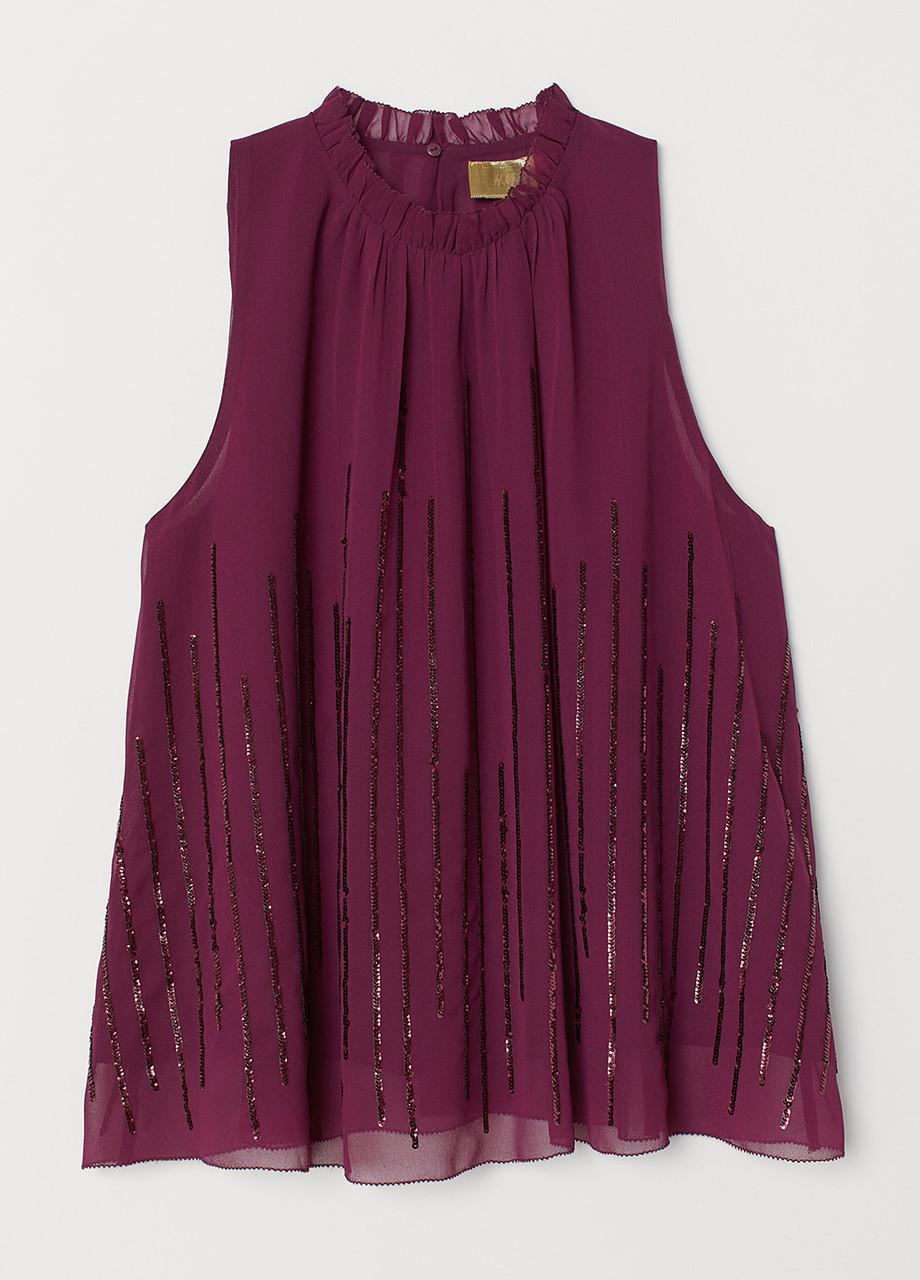 Вишневая однотонная блузка H&M летняя