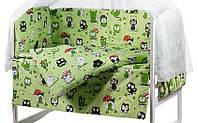 Бортики защита постельное в детскую кроватку красивые расцветки Совы