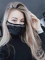 Маска на лицо черная женская бархатная тканевая без принта, фото 1