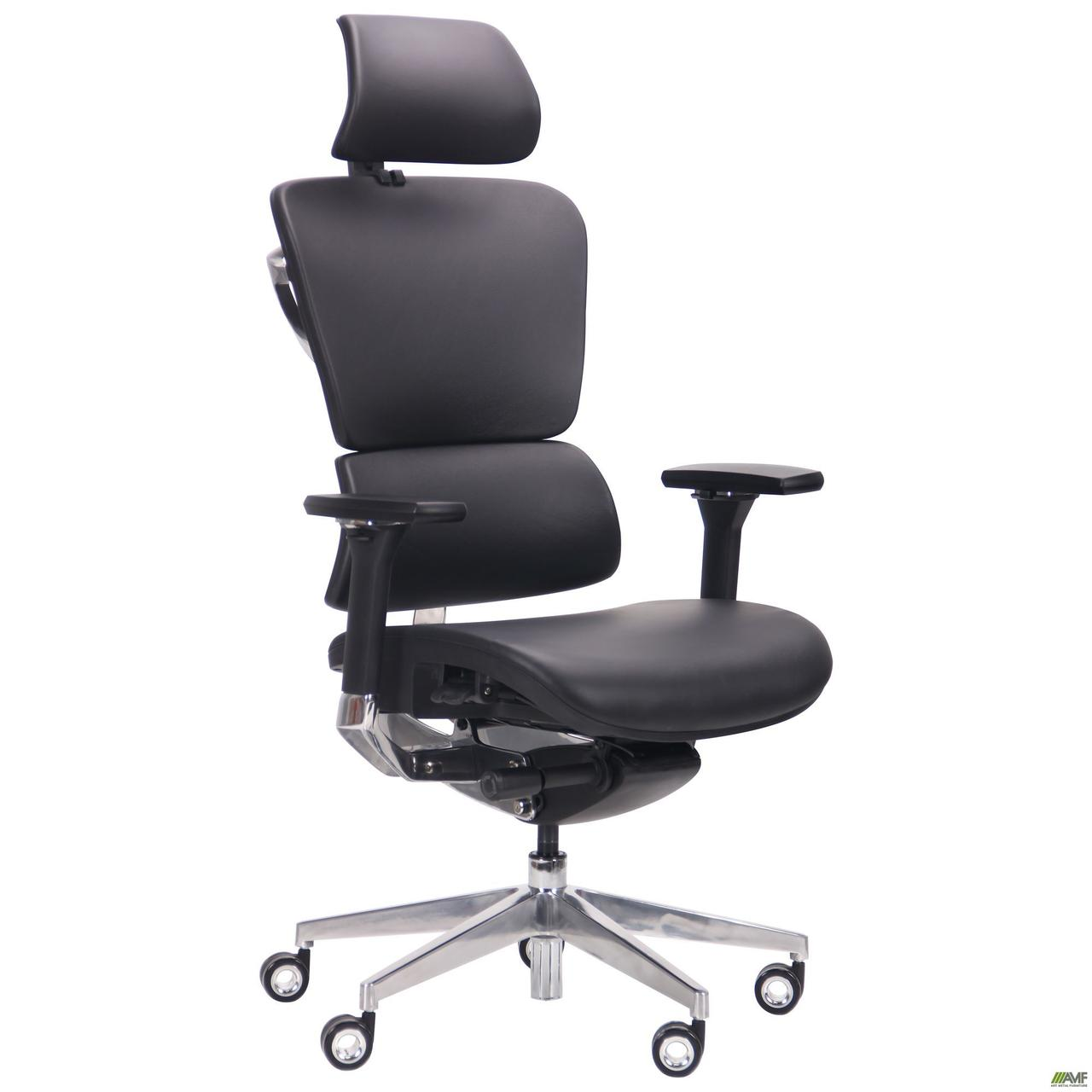 Кресло Crystal PRO Alum, Black leather TM AMF