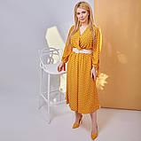 Платье в горох сарафан солнце клеш пояс в комплекте еврософт размер: 48/50 (2хл); 52/54 (4 хл); 56/58 (6, фото 3