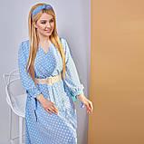 Платье в горох сарафан солнце клеш пояс в комплекте еврософт размер: 48/50 (2хл); 52/54 (4 хл); 56/58 (6, фото 5