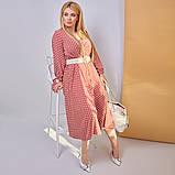 Платье в горох сарафан солнце клеш пояс в комплекте еврософт размер: 48/50 (2хл); 52/54 (4 хл); 56/58 (6, фото 6