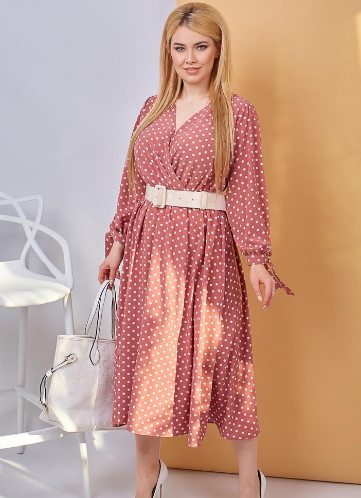 Платье в горох сарафан солнце клеш пояс в комплекте еврософт размер: 48/50 (2хл); 52/54 (4 хл); 56/58 (6