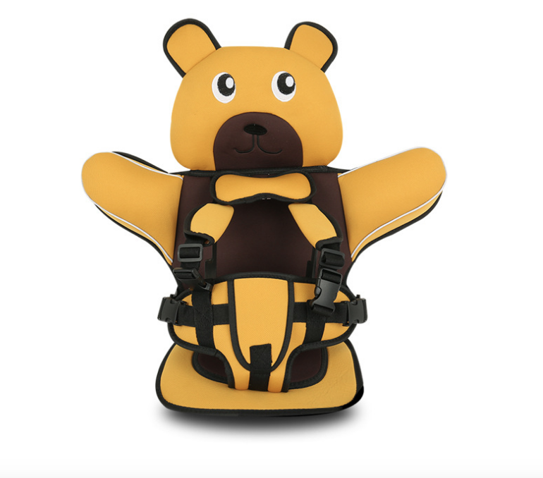 Детское Бескаркасное Автокресло в форме Медвежонка (Цвет Желтый)