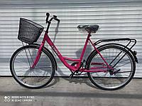 """Женскийгородской велосипед Azimut Avenue  26"""" розовый с корзиной 85% собран.в коробке"""