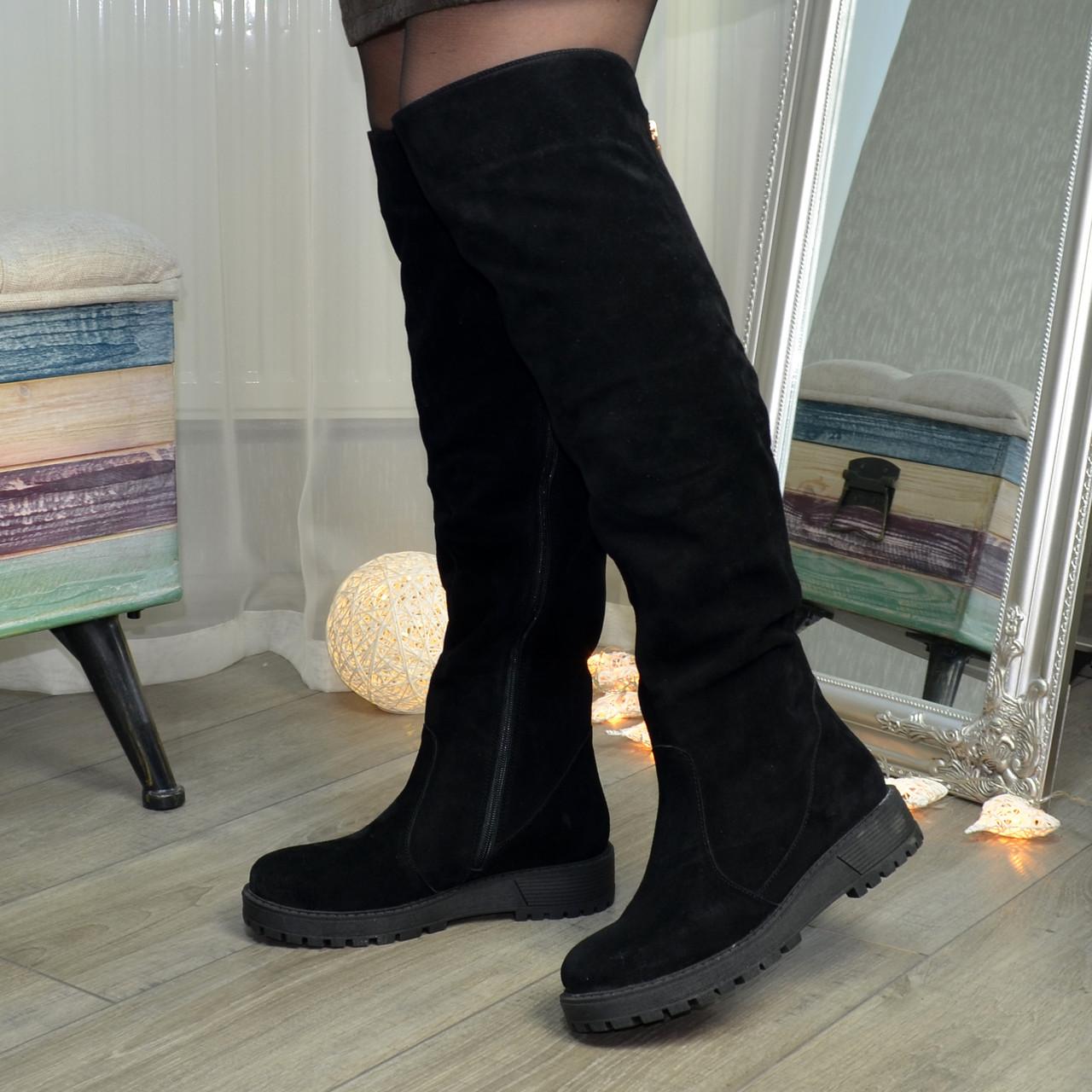 Ботфорты  женские замшевые на утолщенной подошве, цвет черный