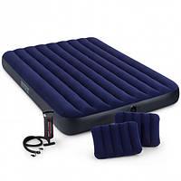 Надувной матрас с насосом и двумя подушками Интекс 64765 размеры 203*152*22см двухместный