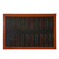 Силиконовый перфорированный коврик для эклеров (20 шт.) 38х58 см., фото 1