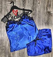 Синяя атласная пижама женская майка и шорты.