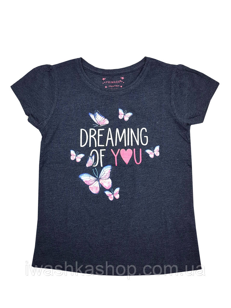 Темно-синя футболка з метеликами для дівчинки, Primark р. 104
