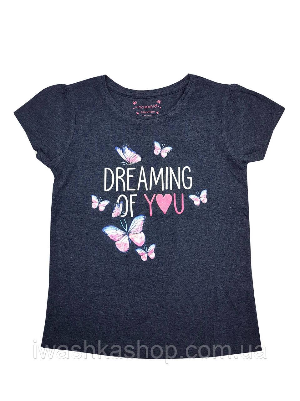 Тёмно-синяя футболка с бабочками для девочки, Primark р. 122