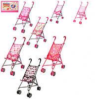 Коляска для Кукол Металлическая Розовая Игрушечная Колясочка Металл, двойные колеса, 9302 W 012246
