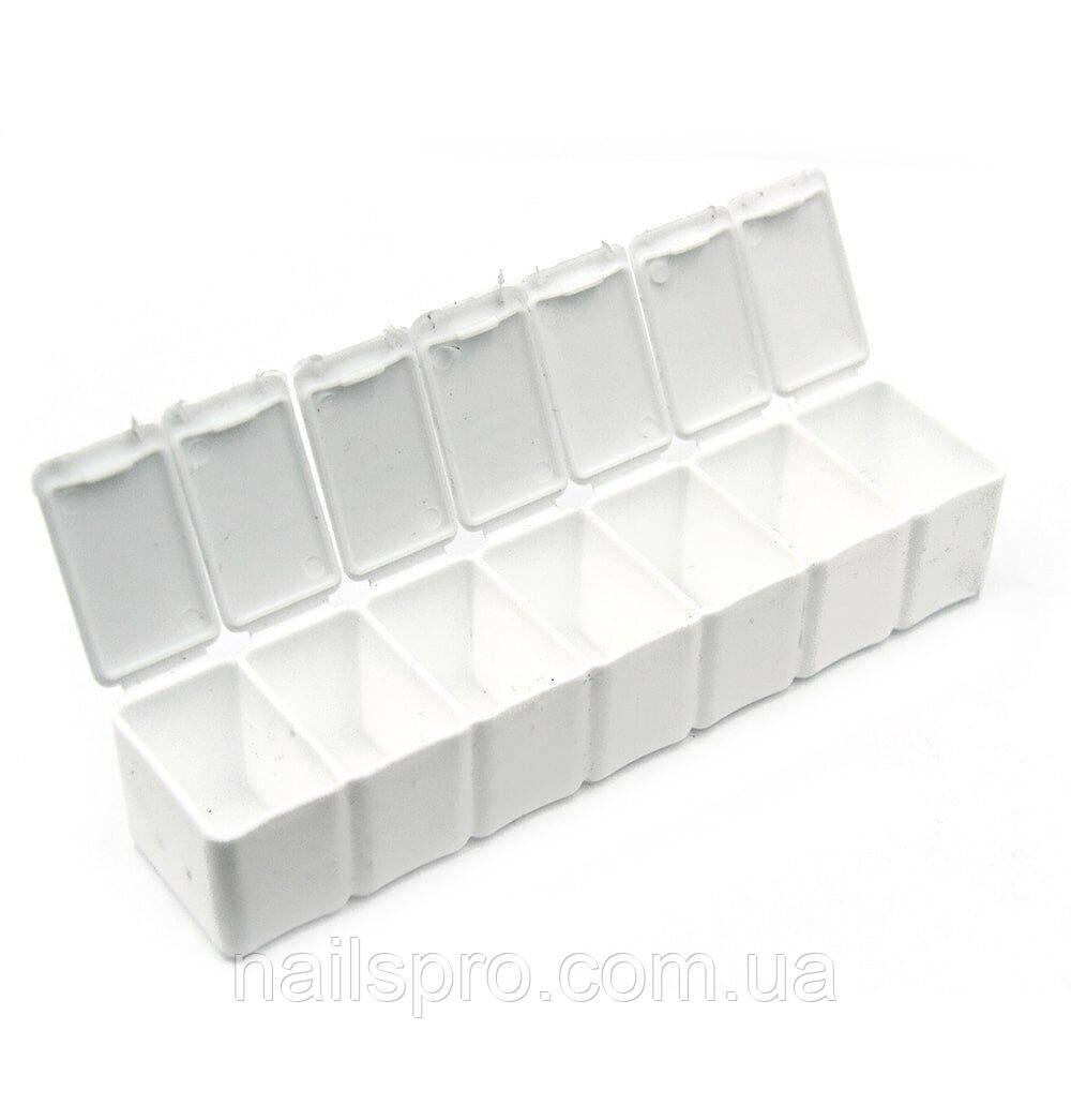 Таблетница для страз на 7 отделов 13х3 см, белая