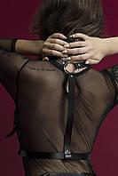 Портупея на грудь Feral Feelings - Harness Top, натуральная кожа, цвет черный, фото 3