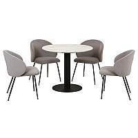 Круглый обеденный стол Т-319 сивелла белый мрамор от Vetro Mebel, D90 см