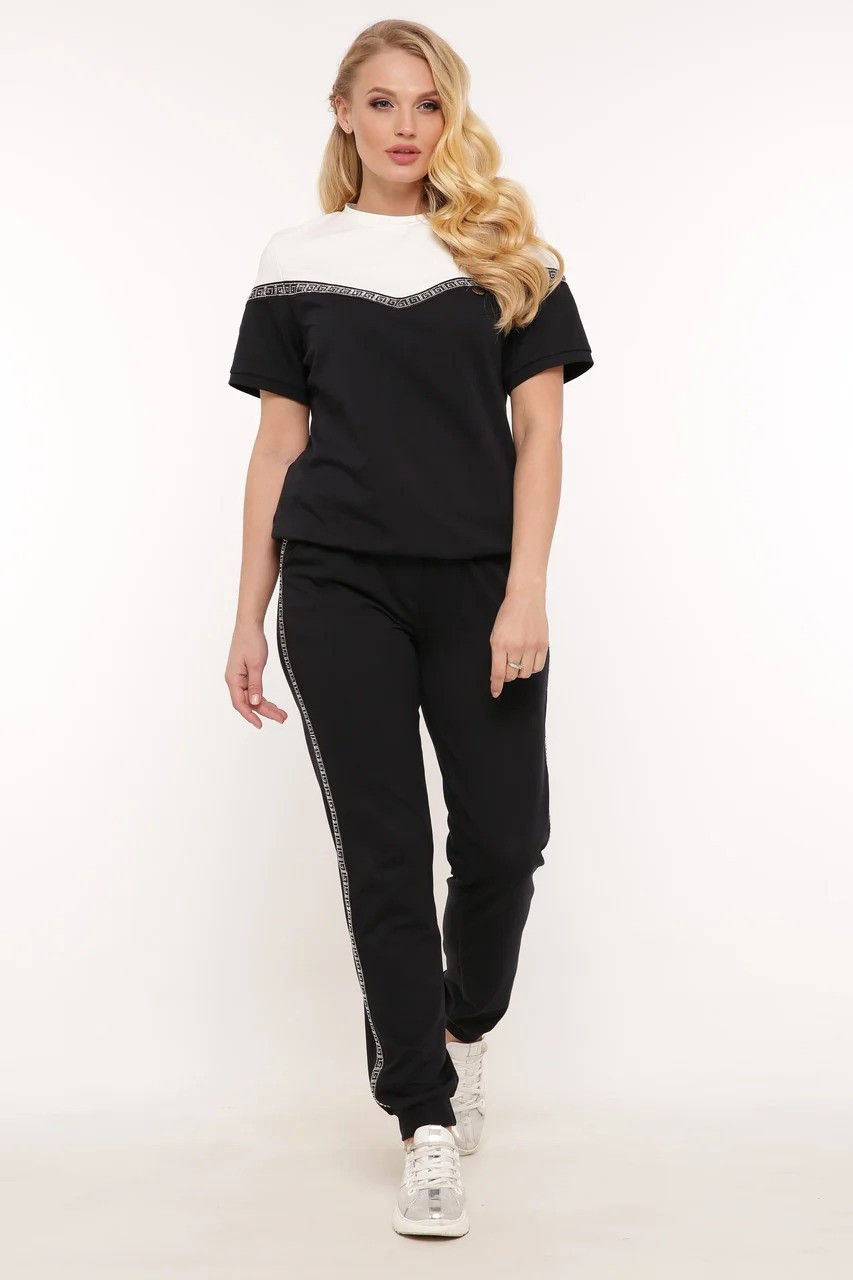 Летний женский костюм футболка и штаны большого размера 50-58