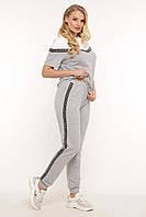 Стильный серый женский костюм футболка и штаны большого размера 50-58