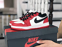 Кроссовки Nike Air Jordan 1 Low, белые с красным и черным
